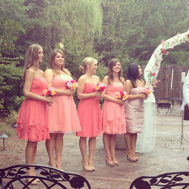 Bridesmaid wedding marriage bridal party coral dresses
