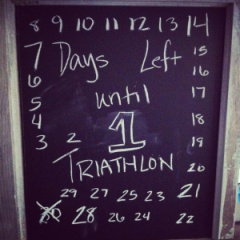 30 day countdown triathlon chalkboard