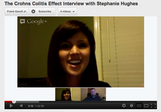 Google hangout Stephanie Hughes Frank Garufi Jr Crohns Colitis effect Stolen Colon ostomy blog
