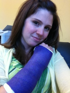 stephanie hughes cast broken wrist  stolen colon crohns ostomy blog