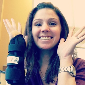 stephanie hughes broken arm wrist bone cast off brace stolen colon ostomy crohns blog